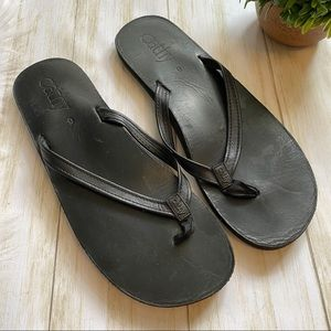 Cathy Jean Leather Flip Flops
